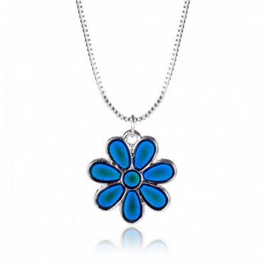 Fashion Jewelry Creative Temperature-sensing Discoloring Flower Pendant Necklace Gift