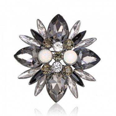 Hot Fashion Woman Lady Elegant Jewelry Glass Gun Black Color Flower Brooch Breastpin