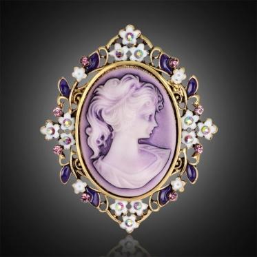 Hot Fashion Woman Lady Jewelry Beauty Pattern Oval Ancient Gold Plated Brooch Pin