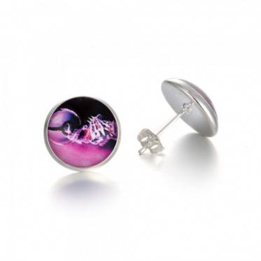 New Fashion Woman Man Jewelry Glass Cabochon Pokemon Pokeball Stud Earrings Gift