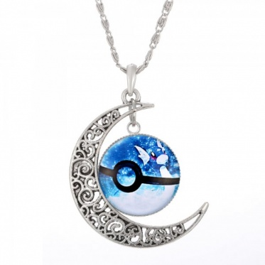Hot Woman Man Jewelry Anime Pokemon Glass Hollow Moon Shape Pendant Silver Necklace