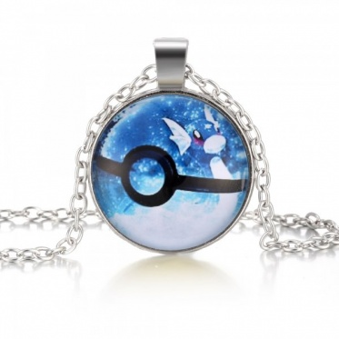 Charming Woman Man White Gold Plated Jewelry Round Glass Pokemon Pendant Necklace
