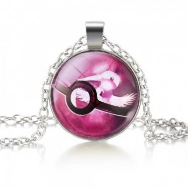 Hot Fashion Popular Jewelry Pokemon Cabochon Glass Dome Silver Chain Pendant Necklace