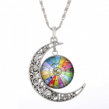 New Woman Man Jewelry Anime Pokemon Glass Hollow Moon Shape Silver Pendant Necklace