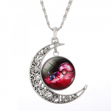 New Charming White Gold Plated Jewelry Pokemon Glass Hollow Moon Pendant Necklace