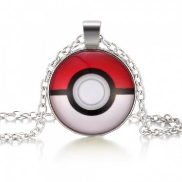 Fashion Woman Man Jewelry Round Glass Pokemon Pattern Chain Pendant Necklace Gift