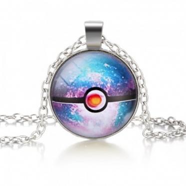 Hot Fashion Popular Woman Man Jewelry Round Glass Pokemon Pattern Pendant Necklace