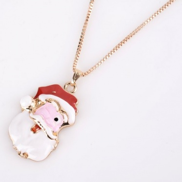 New Fashion Personalized Woman Man Jewelry Gold Santa Claus Pendant Necklace