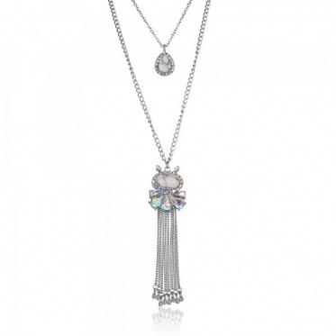 Fashion Woman Charming Jewelry Waterdrop Flower Retro Tassel Silver Chain Pendant Necklace