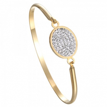 High-grade Stainless Steel Bracelet Woman Man Jewelry Clay Zircon Gold Plated Bangle Gift