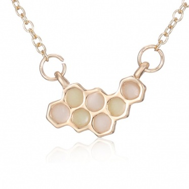 New Fashion Gold Plated Necklace Hexagon Chain Pendant Necklace Mother's Day Gift