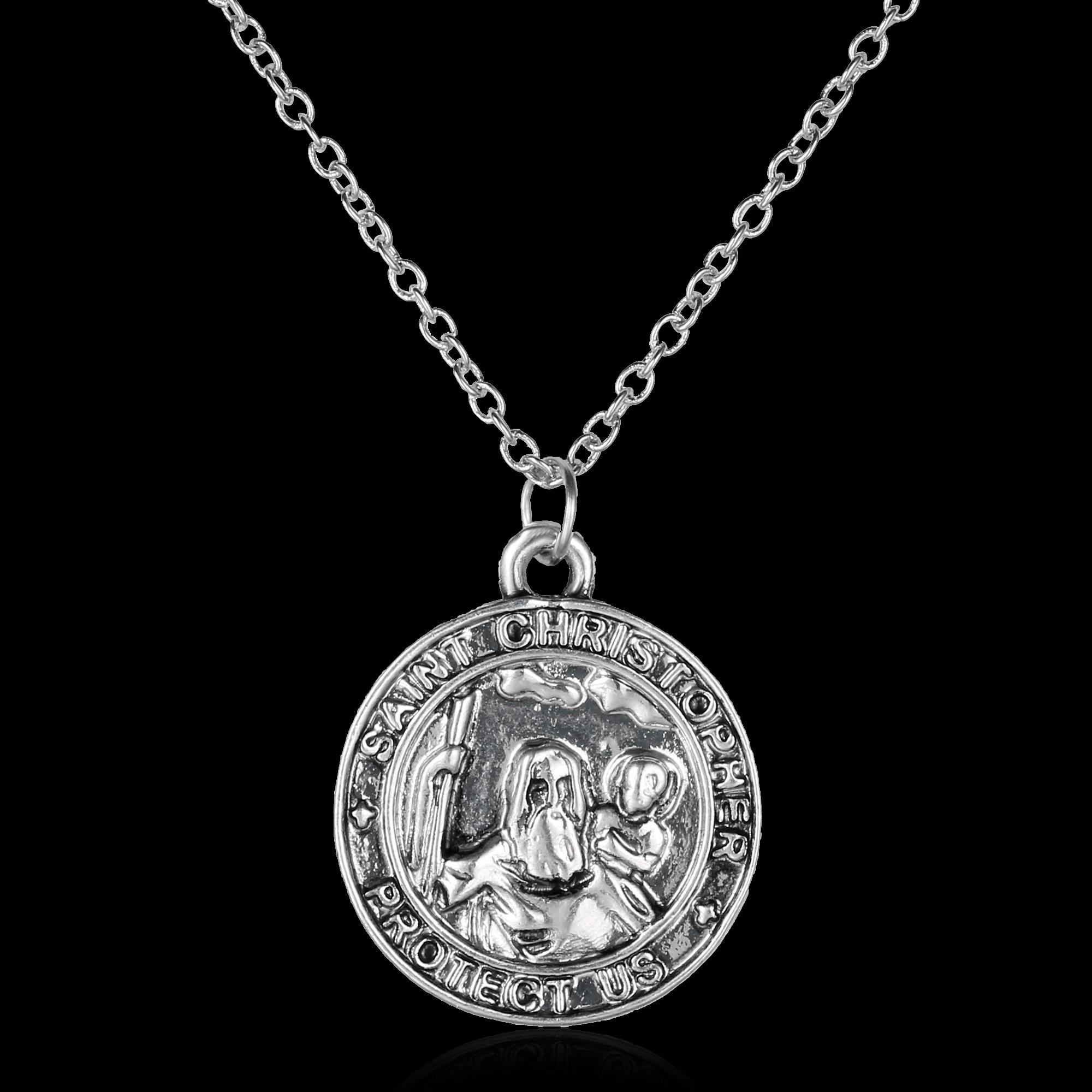 retro st christopher necklace pendant patron