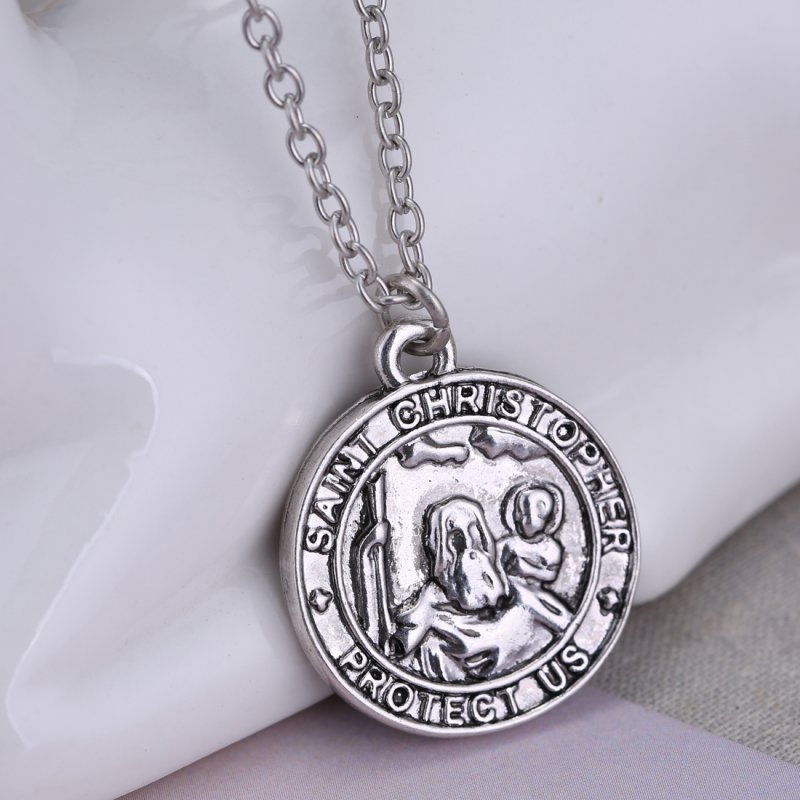 new silver st christopher charm necklace pendant patron