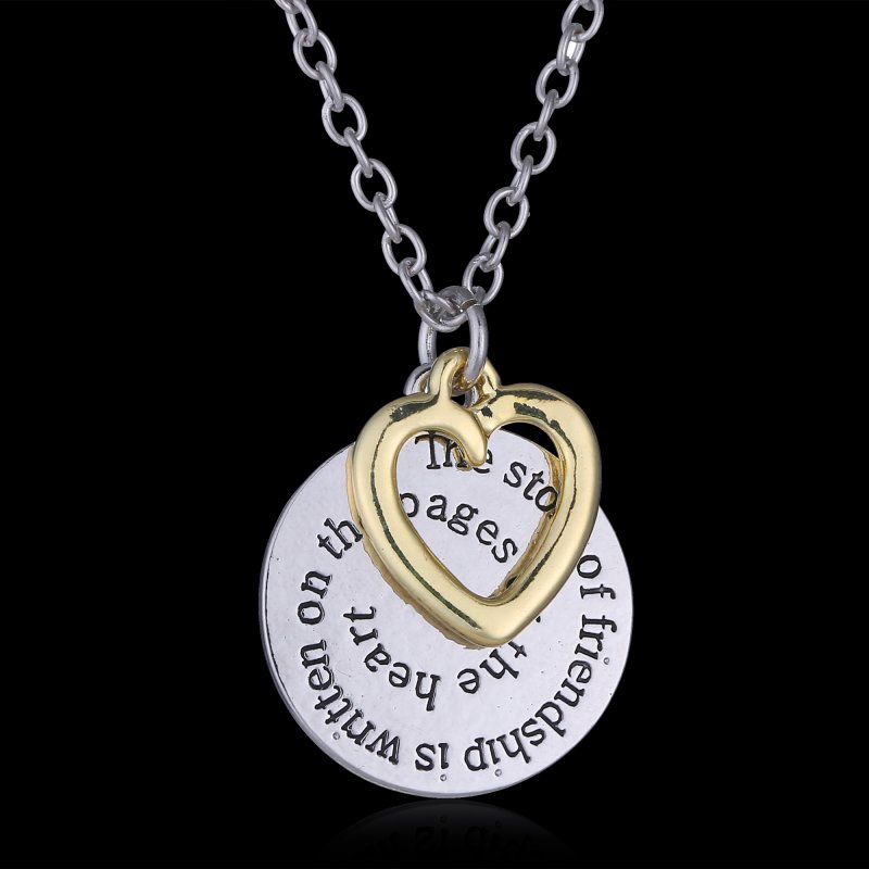 two side disc engraved letter bff best friend jewelry gift