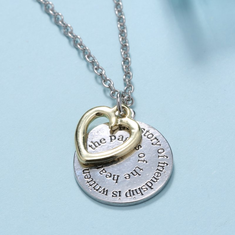 TWO Side Disc Engraved Letter BFF Best Friend Jewelry Gift ...