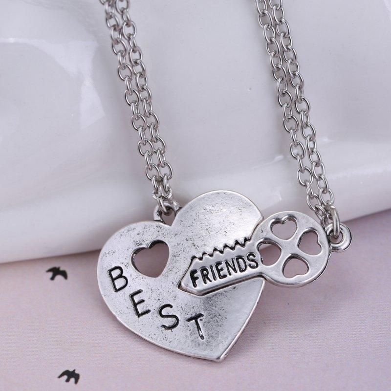 2pcs letter quot best friends quot key silver pendant