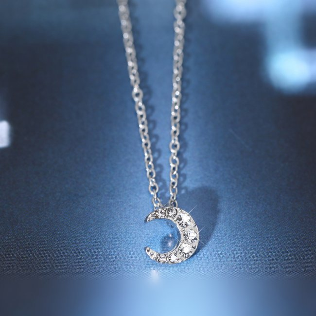 Fashion Jewelry New Necklace Pendant Star Moon Bowknot Heart Silver Crystal Gift