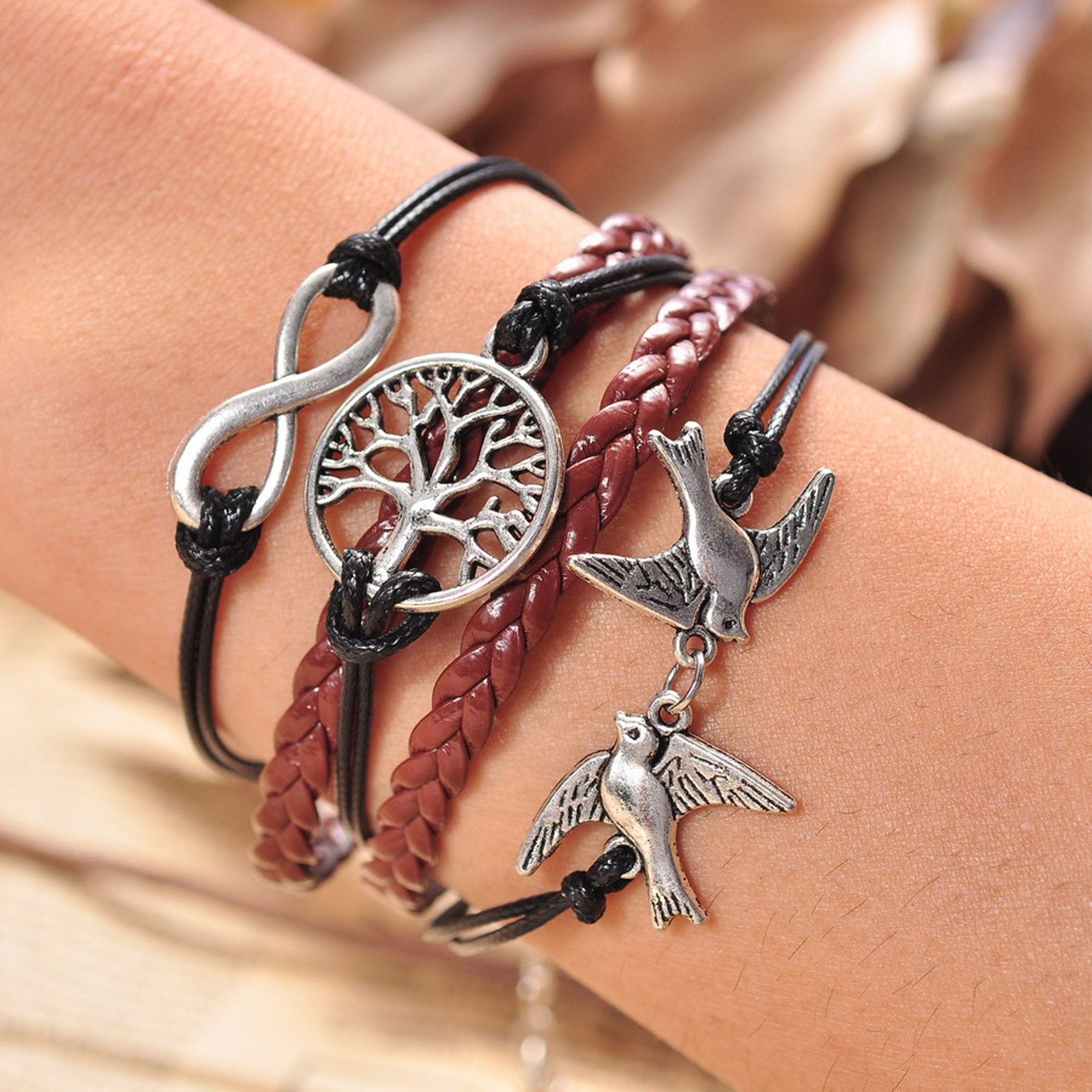 NEW Jewelry fashion Leather Cute Infinity Charm Bracelet Bangle DIY Style Pick