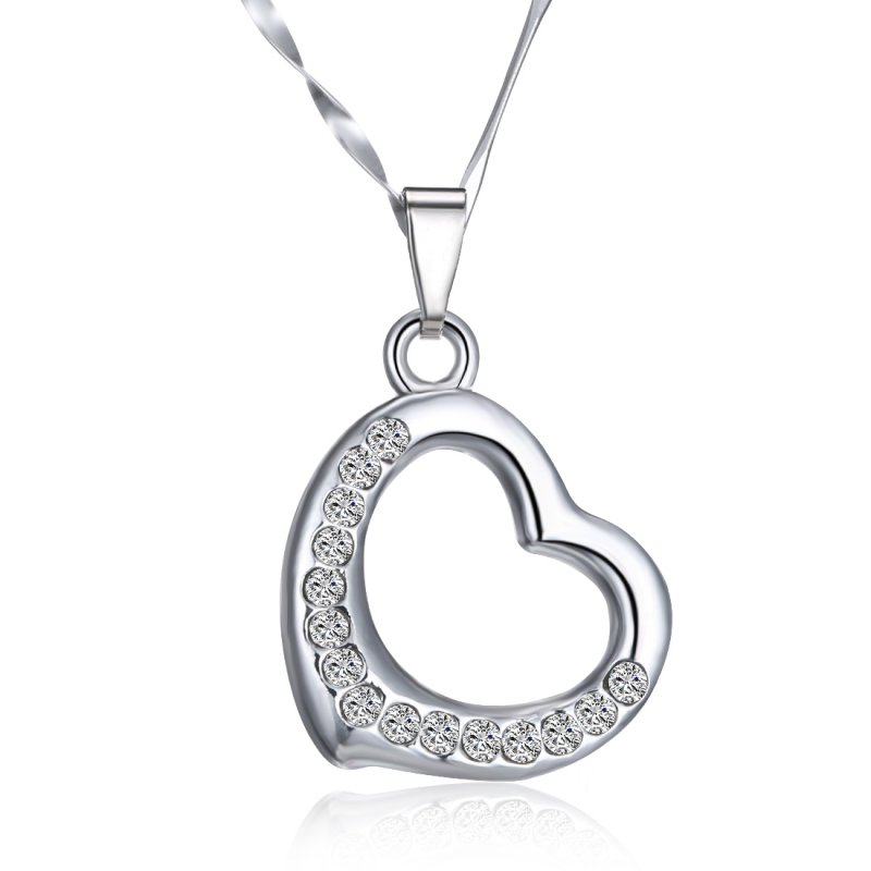 New cute love heart crystal silver hot chain pendant necklace new cute love heart crystal silver hot chain mozeypictures Images