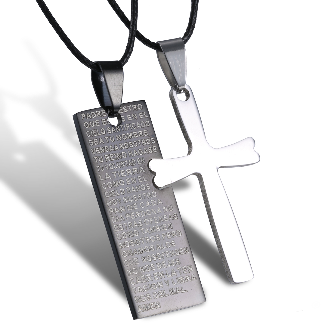 2pcs hot couple lover jewelry stainless steel cross rectangle 2pcs hot couple lover jewelry stainless steel cross rectangle pendant necklace mozeypictures Image collections
