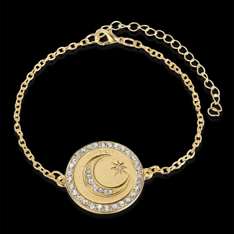 Jewelry Moon And Star Evil Eye Crystal Bracelet Chain Charm Gold Tone Bohemian