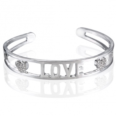 Fashion Silver Alloy Hollow Cuff Bangle LOVE Bracelet For Women Charming Jewelry Gift