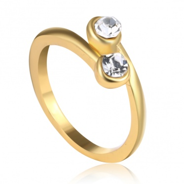 Boutique Double Crystal Gold Plated Women Adjustable Rings Accessories Manufacturers