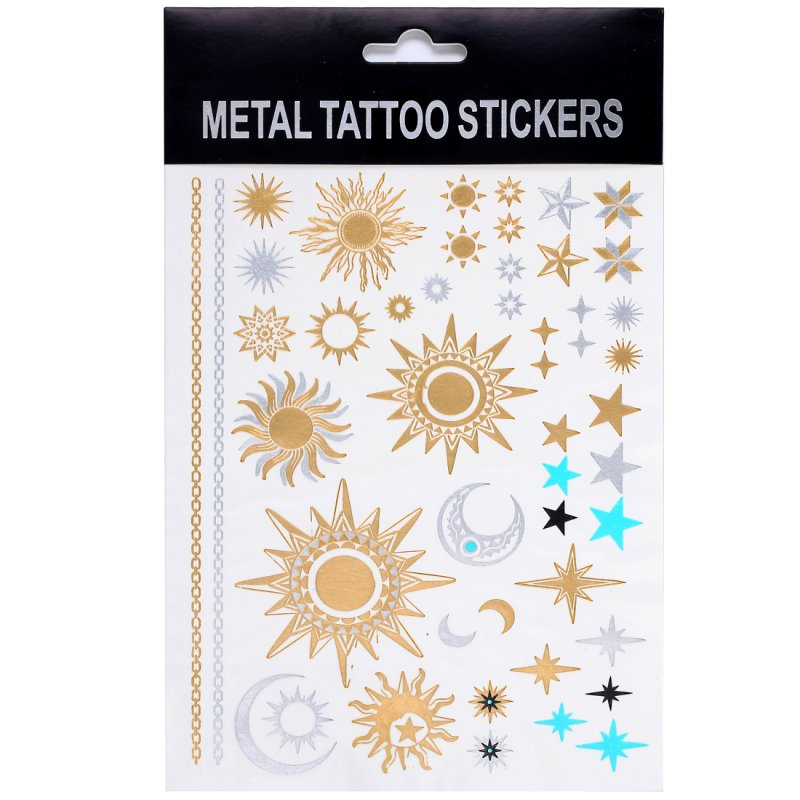 1PCS New Temporary Metallic Tattoo Gold Silver Art Black Body Hot Inspried Flash