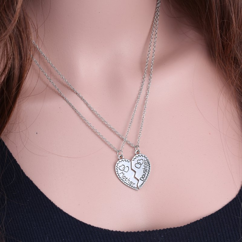 Cute mother and daughter heart necklace set mum mom pendant gift cute mother and daughter heart necklace set mum aloadofball Choice Image