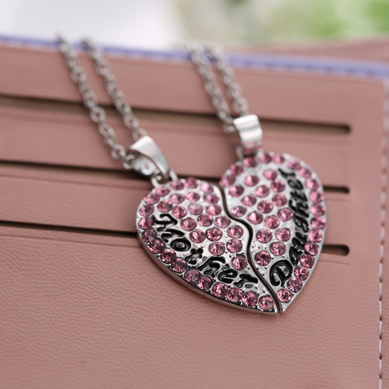 CUTE MOTHER AND DAUGHTER HEART NECKLACE SET MUM MOM PENDANT GIFT FAMILY GRIL NEW