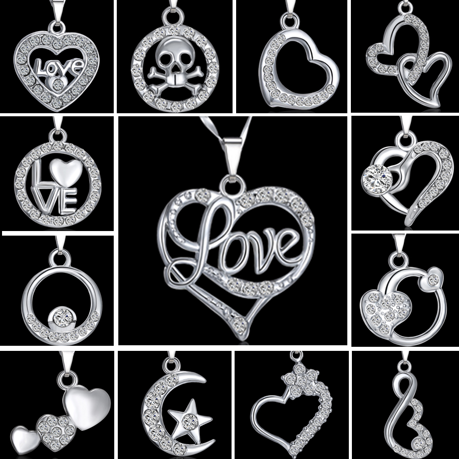 New cute love heart crystal silver hot chain pendant necklace image is loading new cute love heart crystal silver hot chain mozeypictures Images