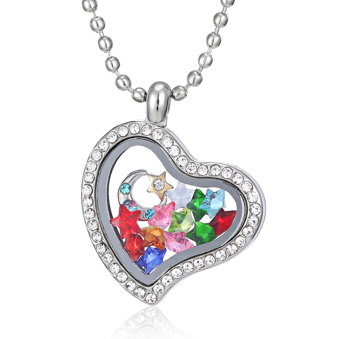 Memory Charm Bracelets: Chic Living Memory Floating Glass Love Locket Charms
