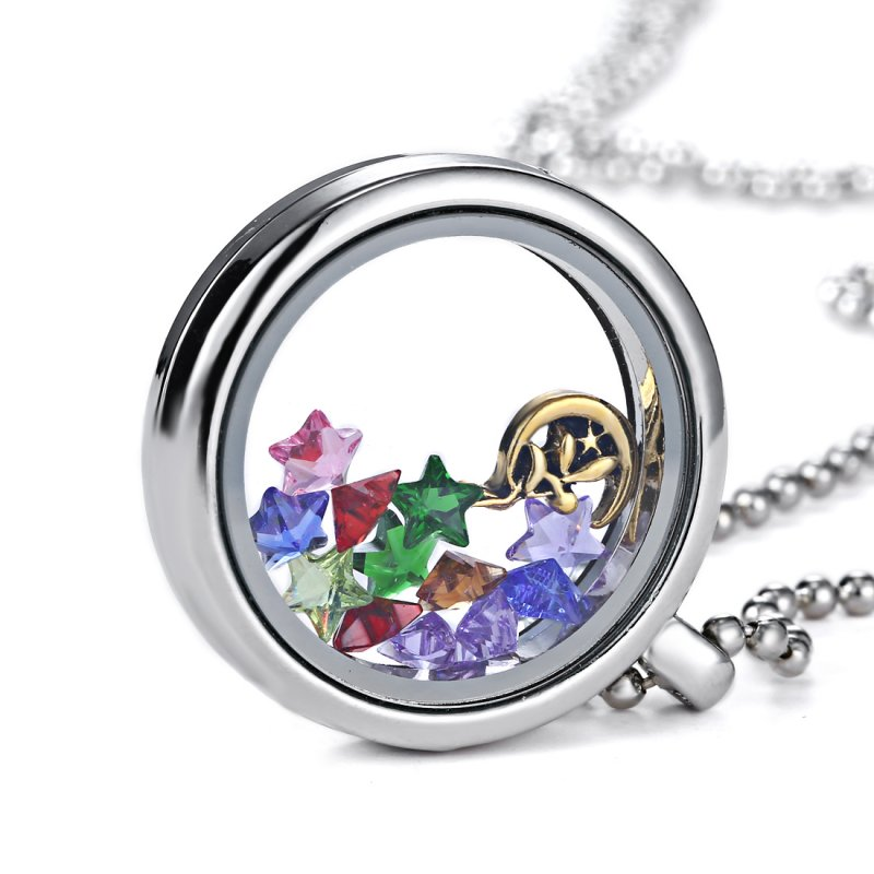 Hot! Living Memory Floating Glass Flower Locket Crystal Charms Necklace Pendant