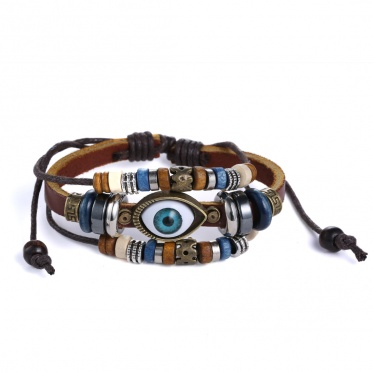 Hot Popular Fashion Retro Brown Leather Multi Color Alloy Eye Wrap Bangle For Men