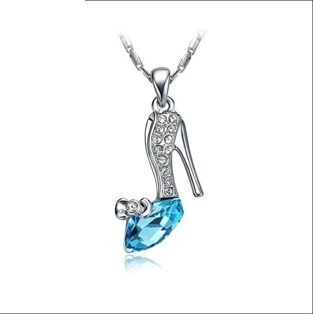 Necklace collection on ebay silver fashion plated crystal cinderella glass slipper pendant necklace jewelry aloadofball Choice Image