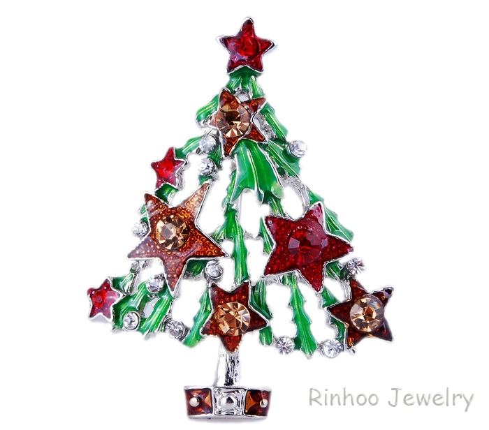 Xmas Tree Full Crystal Retro Hot Rhinestone Brooch Pin Enamel Jewellery Unisex's