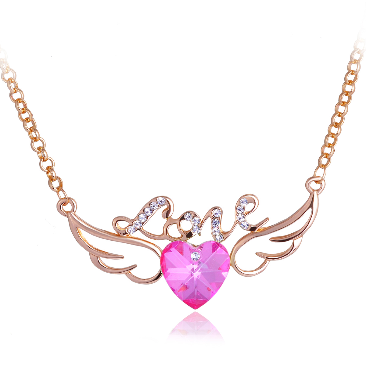 Fashion Jewelry Angel Wings Crystal New Pendant Gold & Silver Chain Necklace