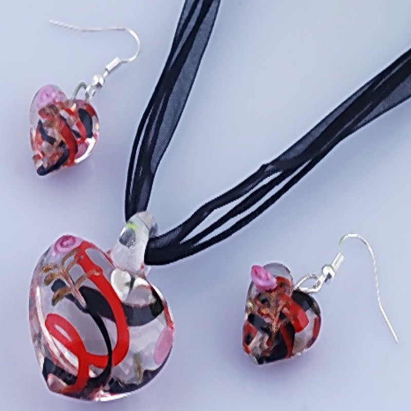 Lampwork Glass Murano Transparent Heart Love Pendant Necklace Earrings Sets Gift