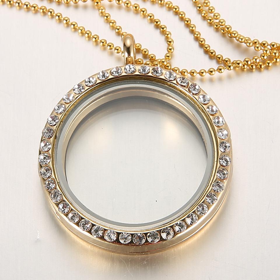 Memory Charm Bracelets: Living Memory Floating Charm Glass Round Locket Pendant