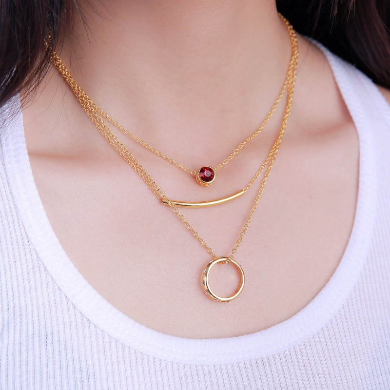 3 part fashion birthstone pendant necklace ring women for Women s minimalist jewelry