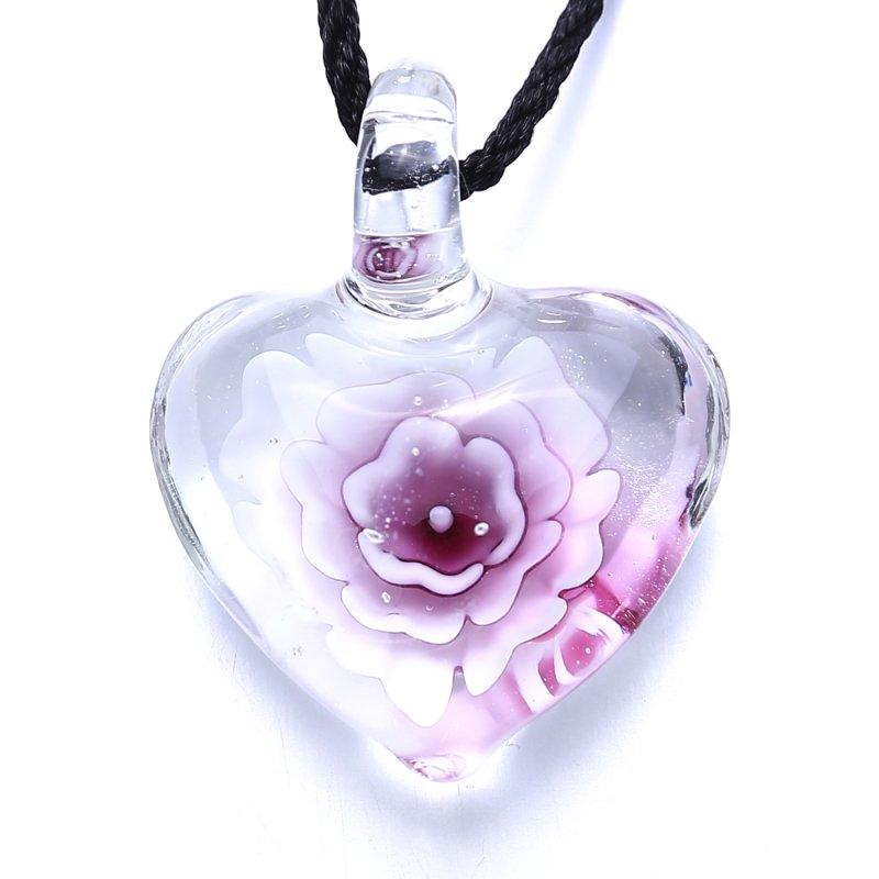 Superb Necklace Lampwork Glass Flower Inside Love Heart Shape Pendant Jewelry