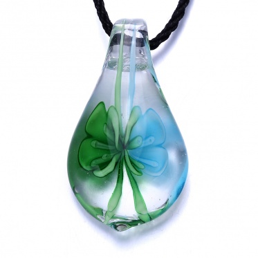 Fashion Woman Man Coloured Glaze Waterdrop Colorful Flower Pendant Necklace Jewelry