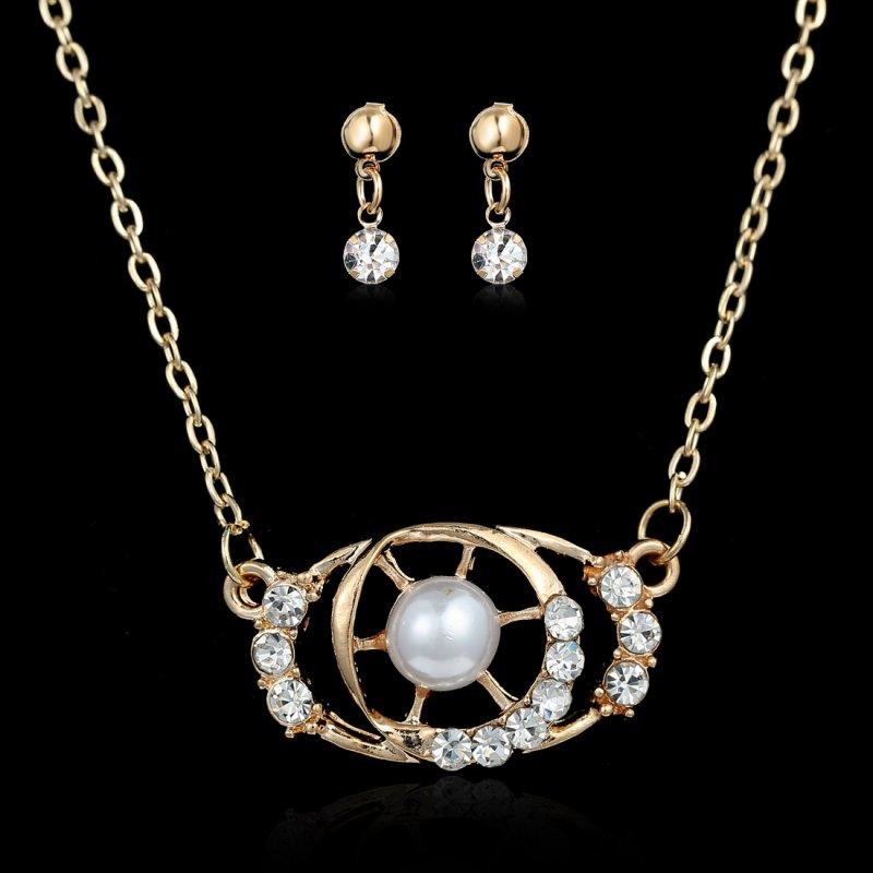 Imitation Jewellery World Fashion Jewellery: New Fashion Crystal Faux Pearl Women Chic Love's Gift Gold