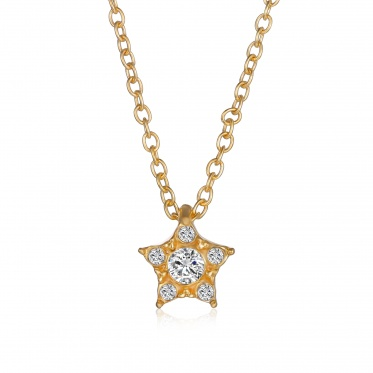 Hot Fashion Woman Man Jewelry Star Zircon Gold Plated Chain Pendant Necklace