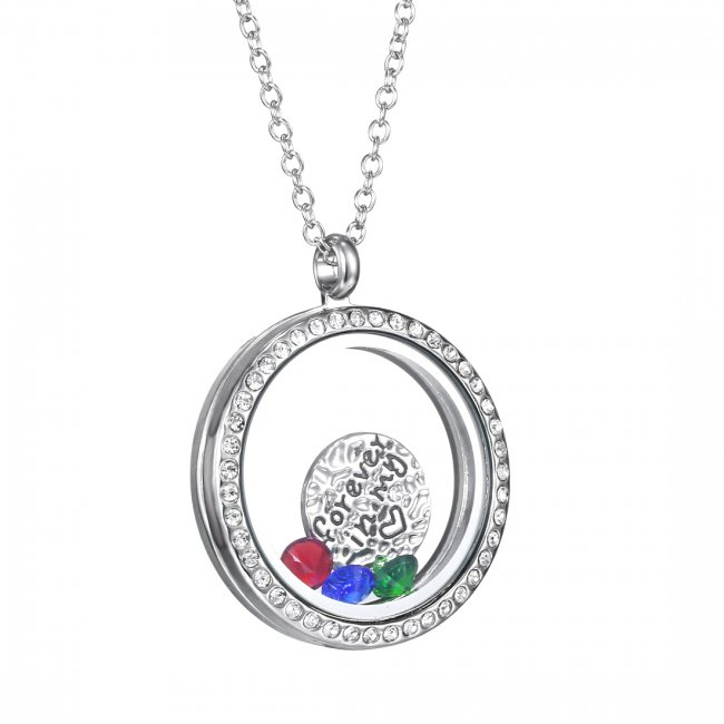 Floating Charm Living Memory Crystal Glass Locket Necklace Pendant Chain 2015