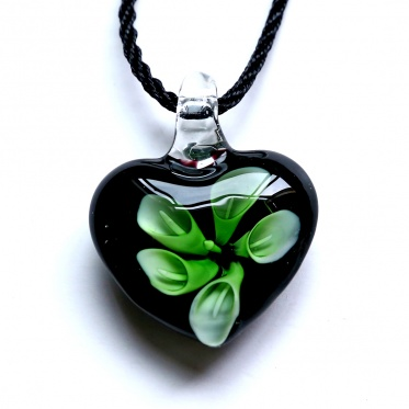 Nobby Woman Man Black Heart Colourful Flower Colored Glaze Pendant Necklace