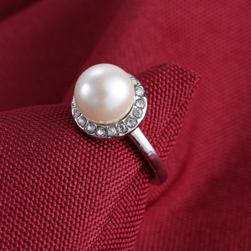 silver pearl wedding/bridal necklace earrings ring crystal fashion on jewellery