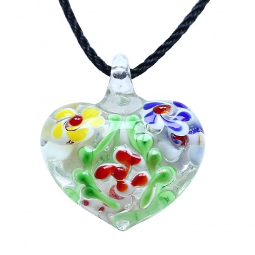 Fashion Woman Man Jewelry Coloured Glaze Heart Colorful Flower Pendant  Necklace