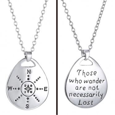 魅力银水晶文字链项链吊坠珠宝礼物