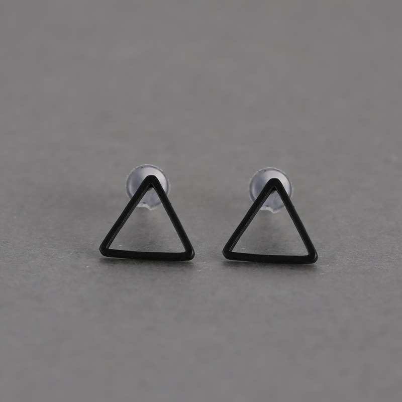 Punk Hollow-out Triangle Simple Geometry Pattern Ear Stud Lady Earrings Jewelry
